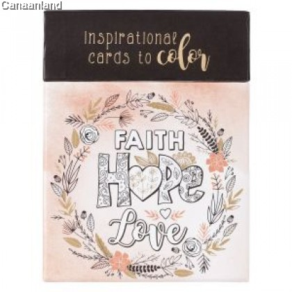 Boxed Coloring Cards - Faith Hope Love
