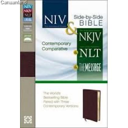 Parallel Bible - NIV/NKJV/NLT/The Message, Leather
