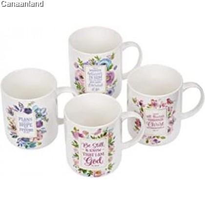 Coffee Mug Set - Inspirational Floral Mug, Four piece
