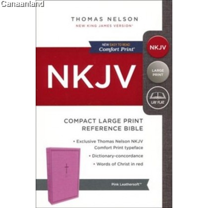 NKJV - Reference Bible, Compact Large Print, Imitation Leather, Pink