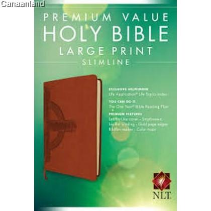 NLT - Premium Value Slimline, Large Print, Leatherlike, Brown/Cross