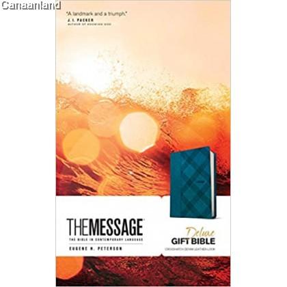 The Message Deluxe Gift Bible, Leather-Look, Crosshatch Denim